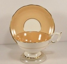 Coalport Tea Cup Saucer Peach Wide Band 9256 Gold Trim Bone China Englan... - $29.69