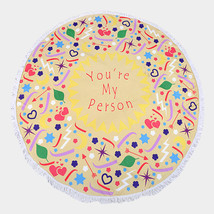 Round Beach Towel Yellow You're My Person Print Poncho with Tassel Trim ... - $31.01 CAD