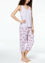 Alfani Women's Printed-Panel Pajama Set 100012915 Bouquet Lilac XS - $30.40