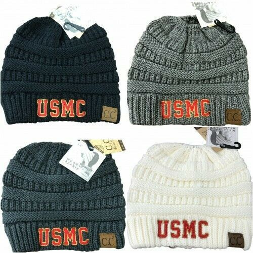 Primary image for USMC Embroidered Ponytail Messy Bun Beanie or Classic CC Beanie