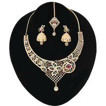 Multicolor Cz Heavy Gold Plated Light Weight Necklace Jhumka Earrings Jewellery - $23.76