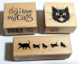 3 Kitty Cat Rubber Stamps I Love Cats/Mama & Kittens/Scaredy Cats Kitten... - $16.44