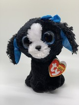 "Ty Beanie Boos Plush 6"" TRACEY the Black & White Dog Glitter Eyes Stuffe... - $7.43"