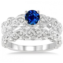 1.25 Carat Sapphire & Sim Diamond Infinity Antique Bridal set 14K White Gold Fn  - $99.99
