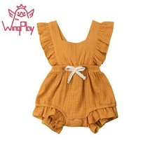 2019 New Summer Baby Girl Clothes Solid Linen Baby Girl Romper Little Si... - $11.60