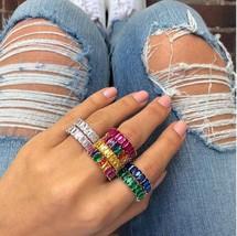 2019 rainbow cz earring ring bracelet set gold color plated latest trendy fashio - $33.57