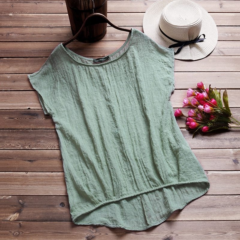 2018 summer blouse womeno neck batwing short sleeve cotton linen loose solid irregular hem baggy