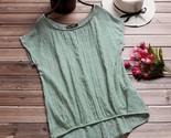 Ouse womeno neck batwing short sleeve cotton linen loose solid irregular hem baggy thumb155 crop