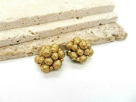 Vintage Signed Hong Kong Gold Textured Tiered Bead Cluster Clip On Earri... - $14.99