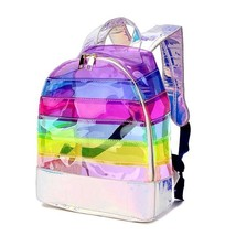 Fashion Womens Backpack Color Striped Laser Plastic See Through Transpar... - $45.04 CAD