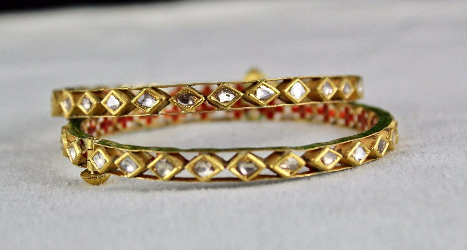 FLAT DIAMOND STUDDED IN 22K  GOLD JADAU MEENA BANGLES FOR LADIES