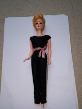 VTG Hard Plastic Blonde Hair Lady Movable Head/Limbs black outfit, BROKE... - $18.49