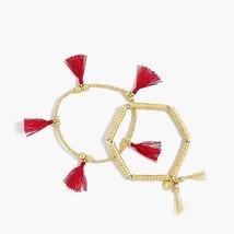 NWT J. Crew Women's Bead and Tassel Bracelet Set - Cerise - Gold/Red - $17.19