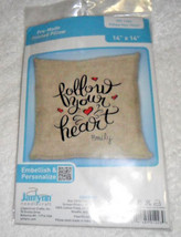 "Janlynn Follow Your Heart Stamped Stitch Pre-Made Pillow Craft Kit 14"" X... - $5.69"