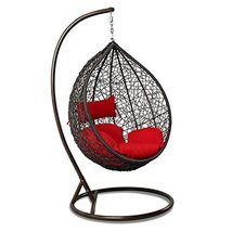 Island Gale Outdoor Brown Wicker Rattan Hanging Swing Egg Chair Hammock ... - $598.98