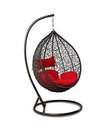 Island Gale Outdoor Brown Wicker Rattan Hanging Swing Egg Chair Hammock ... - $539.08