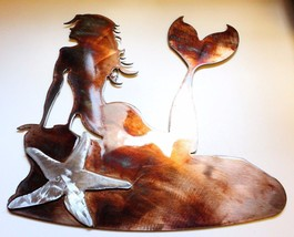 "Mermaid on the Rocks Metal Wall Art With Silver Starfish 13 1/4"" tall x 12 1/4"" - $43.69"