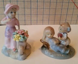 Kids figurines Home Decor set of 2 Girl flowers boy and girl Ball Glazed... - $5.00