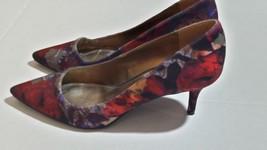 Nine West Women's Pointy Toe Pumps Heels Sz 8.5 Floral Red Blue 2.75 Hei... - €20,50 EUR