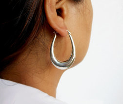925 Sterling Silver Oval Hoop Earrings, Womens Long Oval Earrings 44mm -... - $40.00+