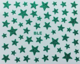 Bang Store Nail Art 3D Glitter Decal Stickers Green Stars Glittery Funny Cute - $3.67