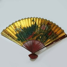 Large Vintage Chinese Hand Painted Peacock Wall Display Fan Artist Signed - $98.00