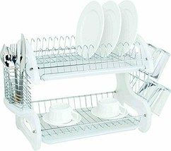 Home Basics Plastic 2-Tier Dish Drainer Rack, Air Drying and Organizing ... - $52.37