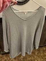 Talbot Women's Plus 3/4 Sleeve Sweater. Green Striped. Size 2X.  - $15.00