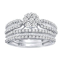 0.72 Ct Round & Baguette Natural Diamond Sterling Silver Engagement Bridal Set - $404.98