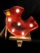 Glitzhome LED Marquee Cardinal Stocking Holder Christmas Handcrafted Iron  - $16.78