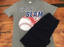 Gymboree Grand Slam Baseball Shirt w/ Dark Marine Navy Cargo Shorts Sz: ... - $15.85