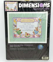 Dimensions Pastel Welcome Baby Announcement Birth Record Cross Stitch Ki... - $16.99