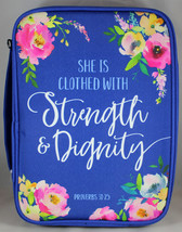 Bible Cover She is Clothed Proverbs 31:25 Blue Floral Nylon NEW X-Large ... - $23.47