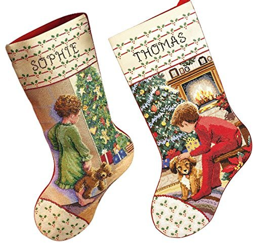 Primary image for Janlynn Christmas Stockings Counted Cross Stitch, 2 Kits: Waiting For Santa and