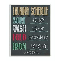 Stupell Home Décor Laundry Schedule Chalkboard Bathroom Wall Plaque, 10 x 0.5 x