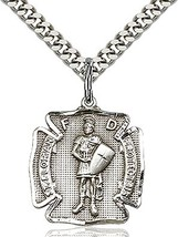 St. Florian - Pewter  - Pendant on a 24 inch Light Rhodium Heavy Curb Chain