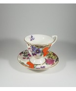 Bone China Purple Pansy Footed Tea Cup & Saucer Set Strawberry Bella Lux... - $12.62