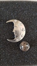 silver plated man in moon with clip on rear Pin ,Badge / tie pin