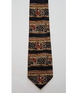 Barbara Blank All Silk Gold Red Gray Geometric Floral Print Men's Neck Tie - $19.79