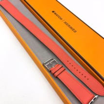 Apple Watch Hermes Double Tour Leather Belt Rose Jaipur 38mm Used - $868.22