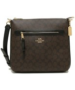 NWT COACH Mae File Crossbody Bag Purse Canvas Logo Zip Gold Brown Black ... - $125.00
