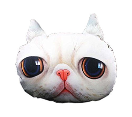 PANDA SUPERSTORE 3D Cute Pet Dogs and Cats Face Head Pillow, Beautiful Cat