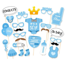Cute Baby Shower 25pcs Its A Boy Photo Booth Props Set Birthday Decor Bl... - ₨763.34 INR
