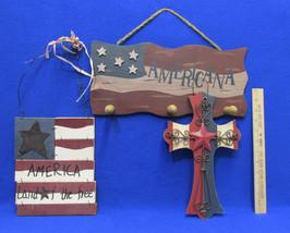 USA American Patriotic Wall Hanging Wood Primit... - $24.74