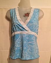 Crazy Horse A Liz Claiborne Co Women's L Paisley Tank Top Cami Blue&Whit... - $10.67