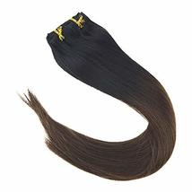 VeSunny 12inch Clip in Hair Extensions Ombre Remy Human Hair Natural Black Fadin image 2