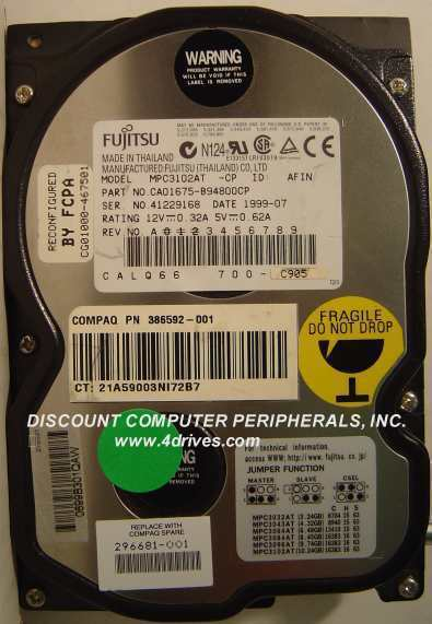 "10GB 3.5""IDE Drive Fujitsu MPC3102AT Tested Good Free USA Ship Our Drives Work"