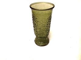 Vintage Anchor Hocking Avocado Green Soreno Bumpy Large Glass VASE - $9.99