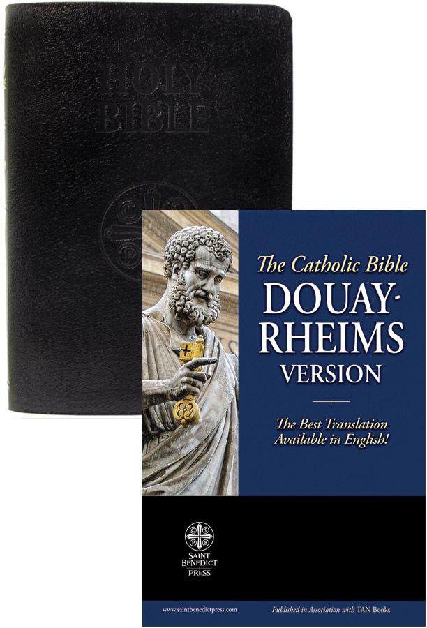 Douay rheims bible  black genuine leather
