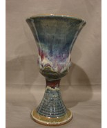 Hand Thrown Ceramic Blessing Cup-Chalice Multicolor Drip Finish - $12.79